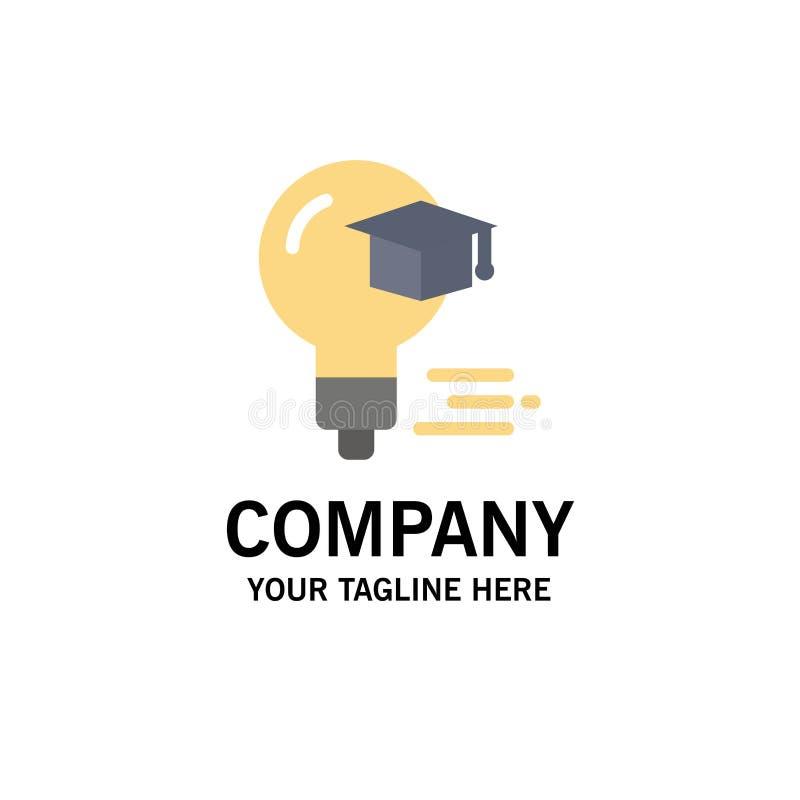 Żarówka, nakrętka, edukacja, skalowanie logo Biznesowy szablon p?aski kolor royalty ilustracja