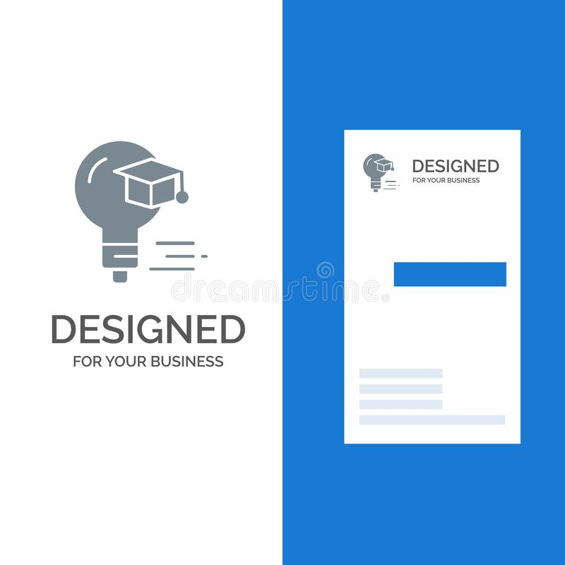 Żarówka, nakrętka, edukacja, skalowanie logo Popielaty projekt i wizytówka szablon, ilustracja wektor