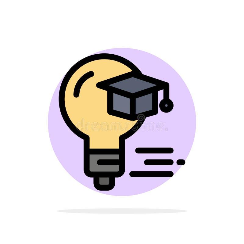 Żarówka, nakrętka, edukacja, skalowanie okręgu Abstrakcjonistycznego tła koloru Płaska ikona ilustracja wektor