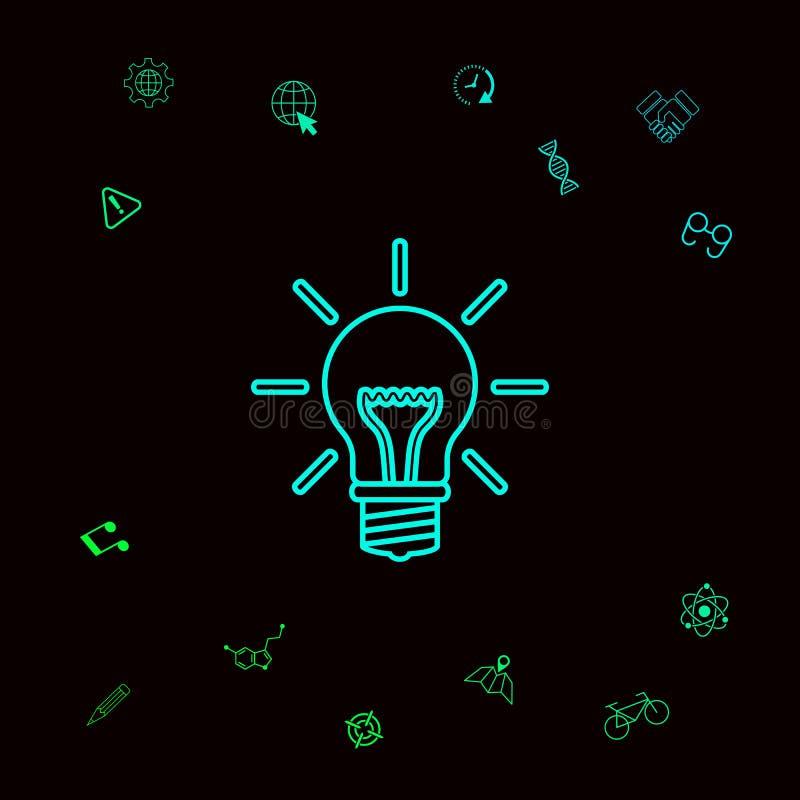 Żarówka - nowi pomysły Kreskowa ikona Graficzni elementy dla twój designt royalty ilustracja