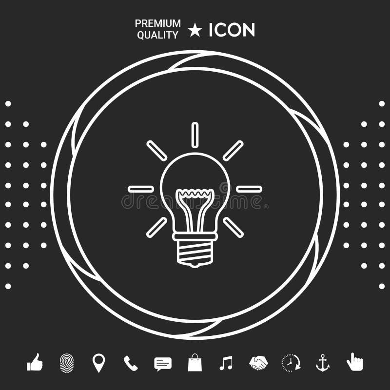 Żarówka - nowi pomysły Kreskowa ikona Graficzni elementy dla twój designt ilustracji