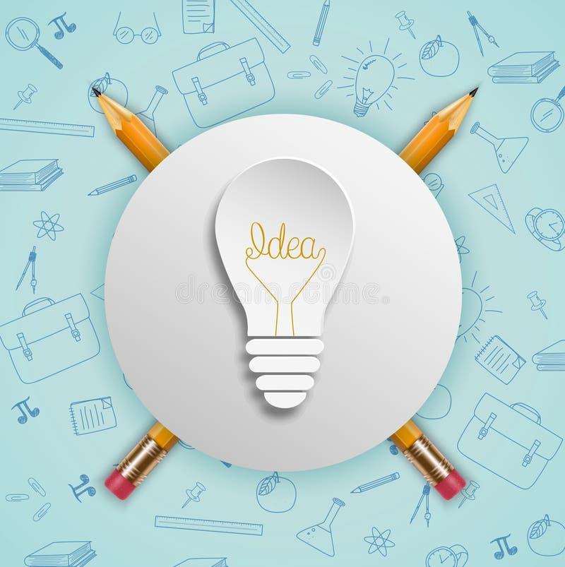 Żarówka pomysłów pojęcie z doodles ikonami ustawiać ilustracji