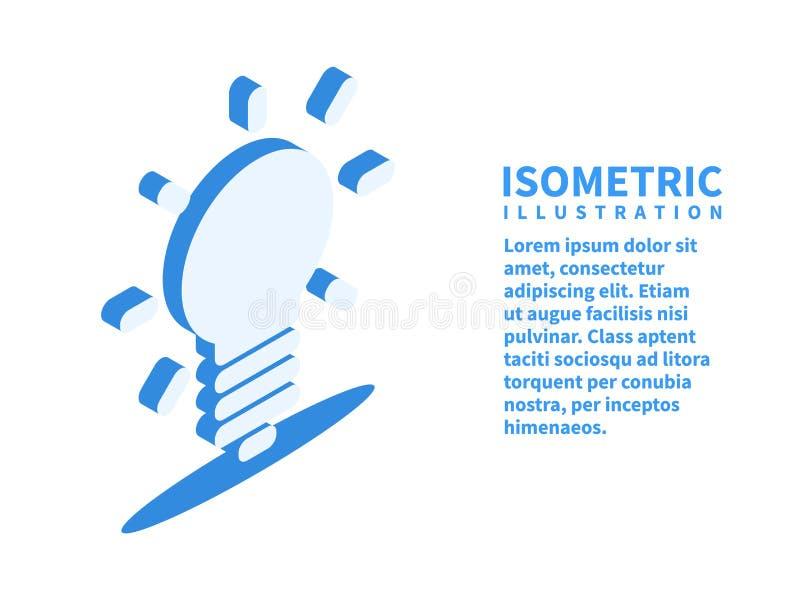 Żarówka, pomysł, ikona Isometric szablon w mieszkania 3D stylu również zwrócić corel ilustracji wektora ilustracji