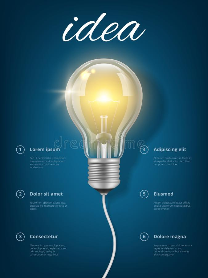 Żarówka pomysł Kreatywnie biznesowy pojęcie z obrazkiem lekkiej szklanej przejrzystej żarówki wektorowy myślący edukacyjny plakat royalty ilustracja