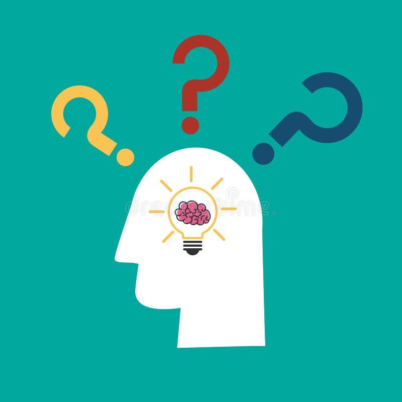 Żarówka pomysł z mózg w ludzkiej głowy i znak zapytania ikonie royalty ilustracja