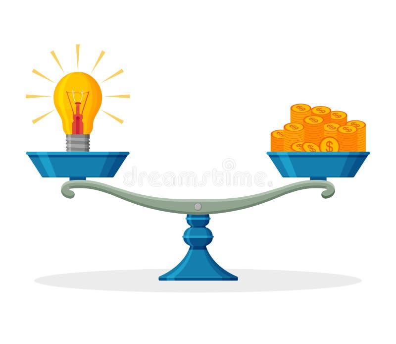 Żarówka, symbol pomysł i pieniądze na zrównoważonej skala, pojęcia prowadzenia domu posiadanie klucza złoty sięgający niebo royalty ilustracja