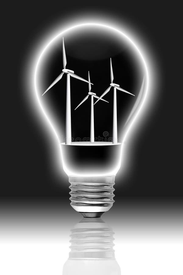 żarówka wśrodku turbina wiatru ilustracji