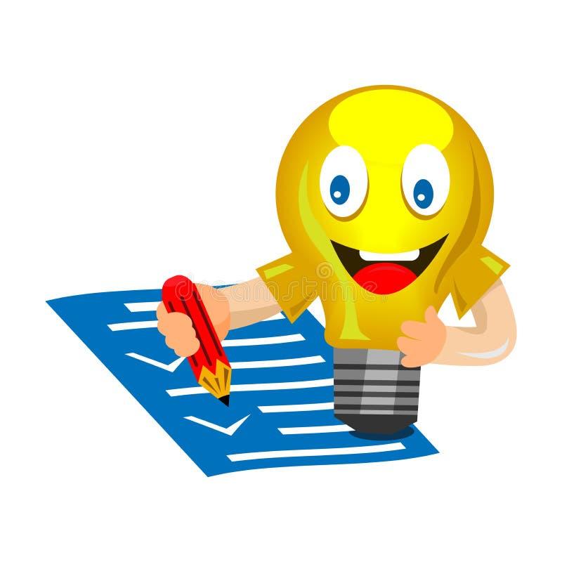 Żarówka w postaci smiley, czeków dokumenty, akceptujący, ono zgadza się ilustracji