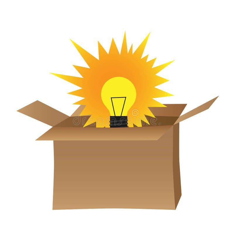 Żarówka w pudełku reprezentuje myśl z pudełkowatego pojęcia royalty ilustracja
