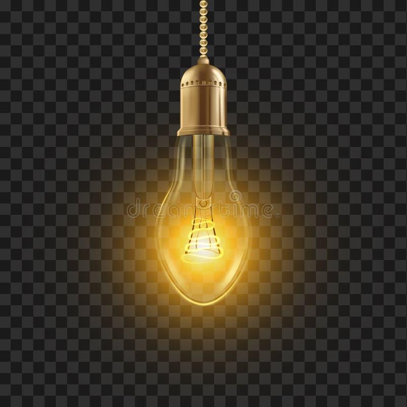 Żarówka wektor Rozjarzonego połysku Lampowa żarówka drucik ikona 3D Realistyczna Przejrzysta ilustracja ilustracja wektor