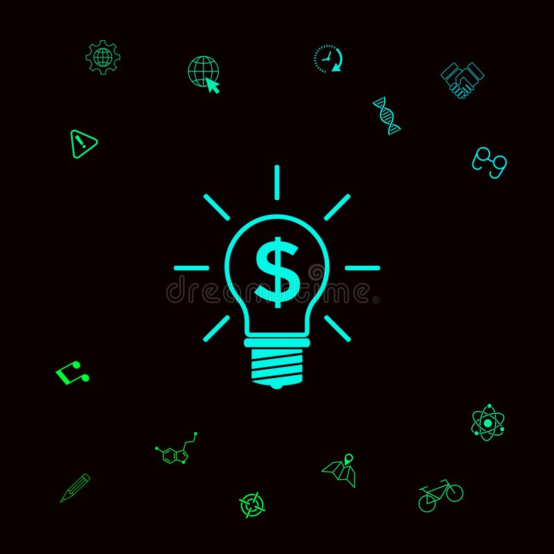 Żarówka z dolarowym symbolu biznesu pojęciem Graficzni elementy dla twój designt ilustracja wektor