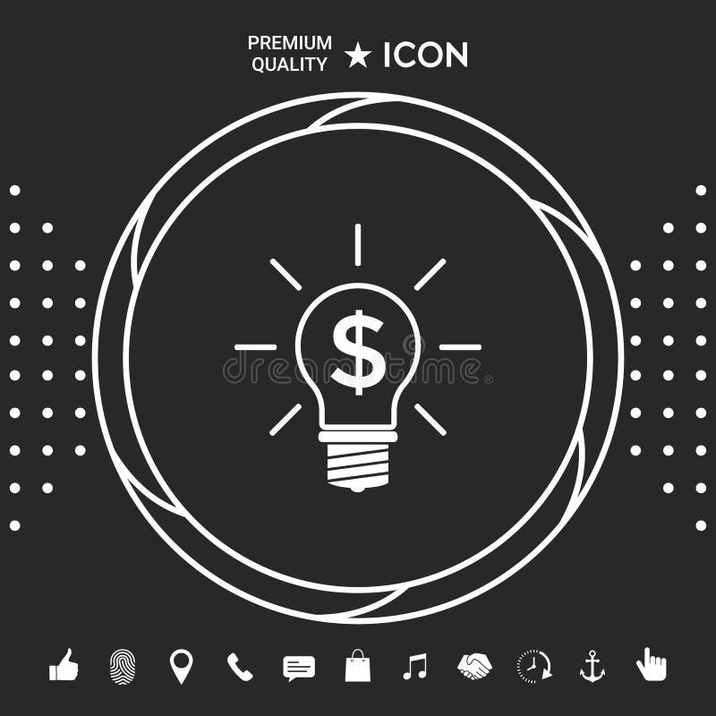 Żarówka z dolarowym symbolu biznesu pojęciem Graficzni elementy dla twój designt royalty ilustracja