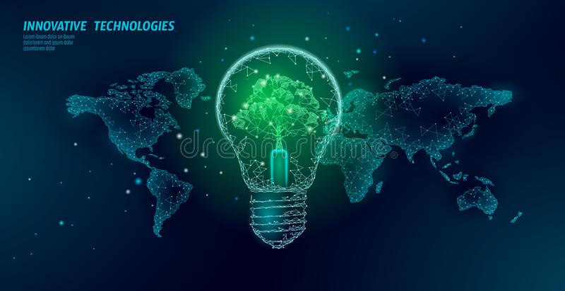 Żarówka z drzewem na światowej mapie Lampowego oszczędzania ekologii środowiska pomysłu energetyczny pojęcie Poligonalna l ilustracja wektor