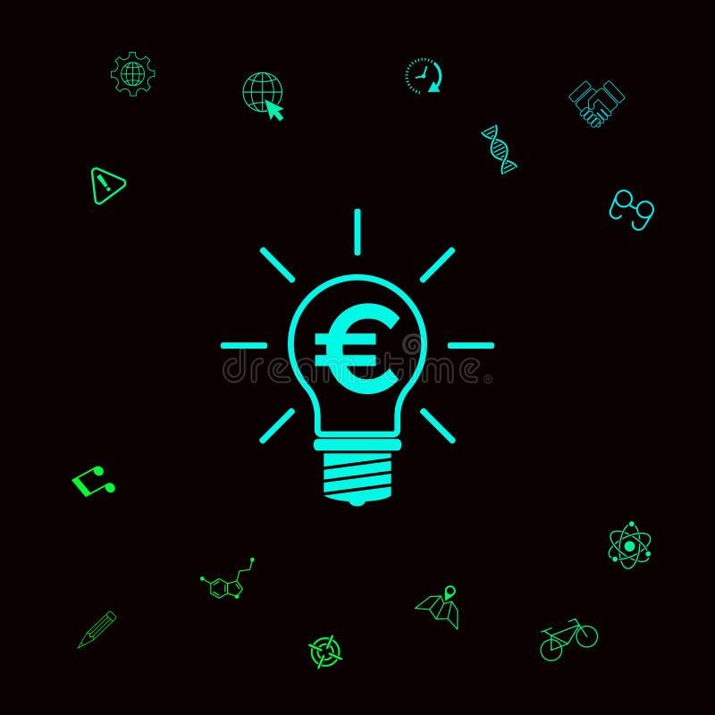 Żarówka z euro symbolu biznesu pojęciem Graficzni elementy dla twój designt ilustracja wektor