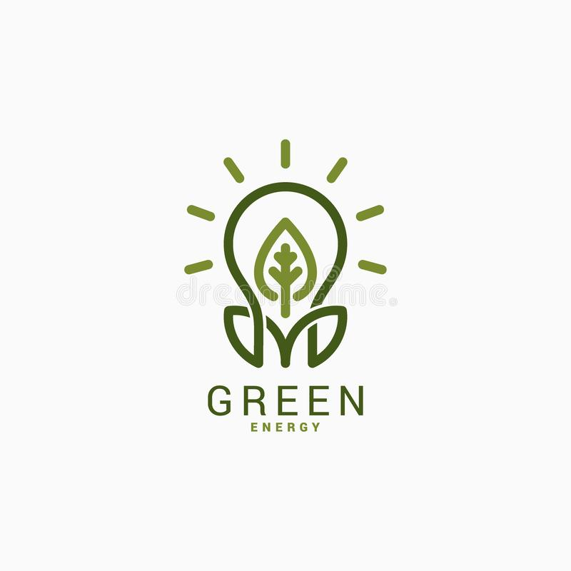 Żarówka z zielonym liściem Zielony Energetyczny Logo ilustracja wektor