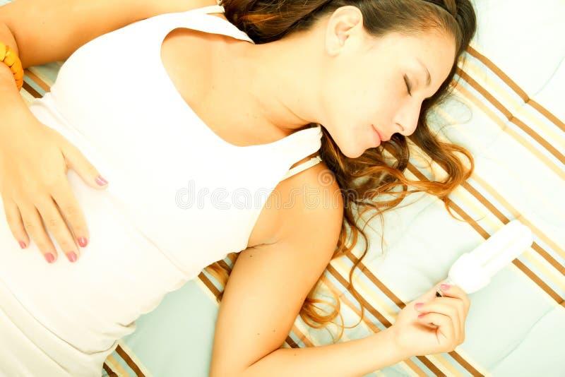 żarówki energetyczny dziewczyny światła ciułacz zdjęcie stock