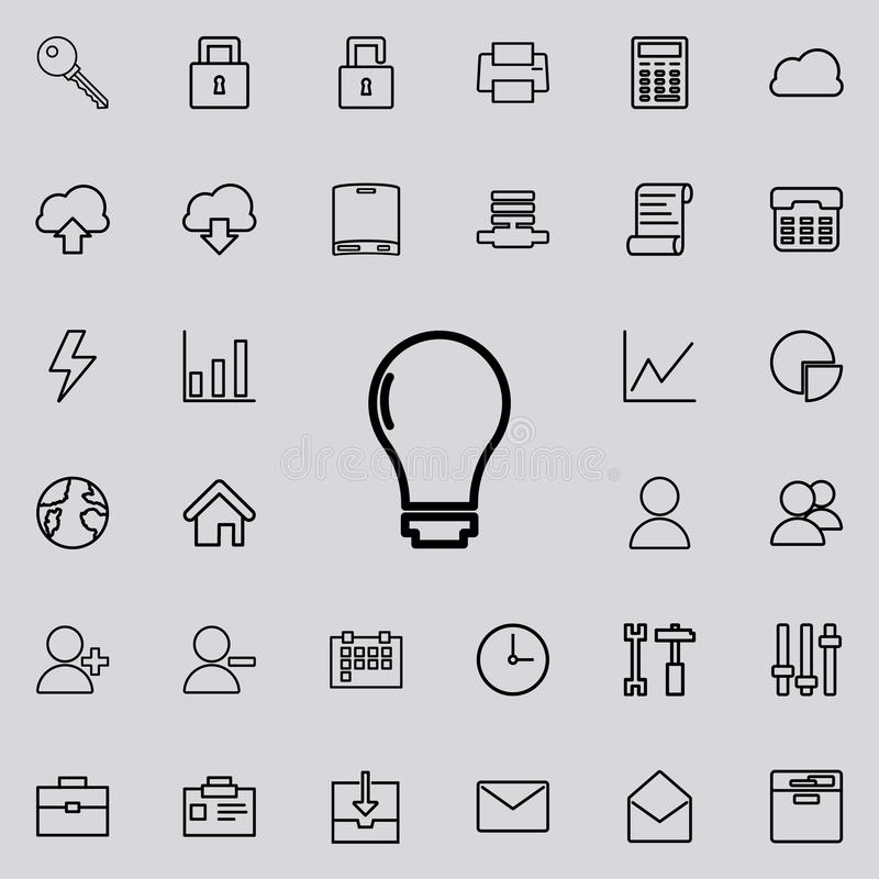 Żarówki ikona Szczegółowy set minimalistic ikony Premia graficzny projekt Jeden inkasowe ikony dla stron internetowych, sieć proj royalty ilustracja