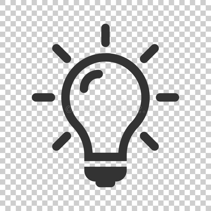 Żarówki ikona w mieszkanie stylu Lightbulb wektorowa ilustracja dalej royalty ilustracja