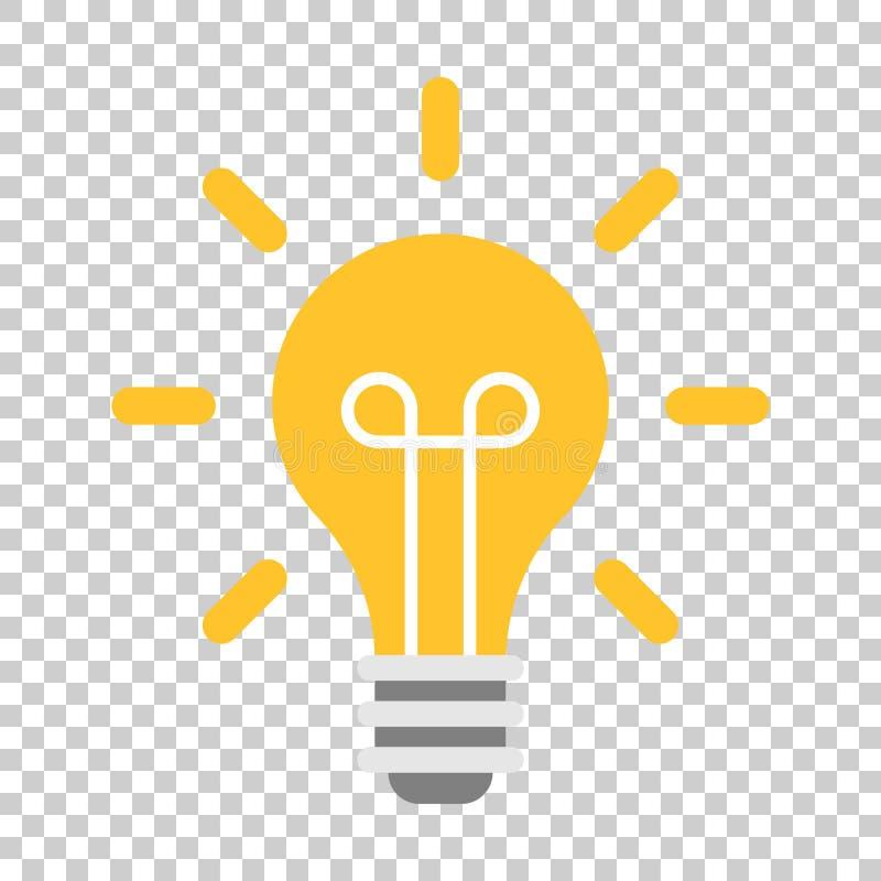 Żarówki ikona w mieszkanie stylu Lightbulb wektorowa ilustracja dalej ilustracja wektor