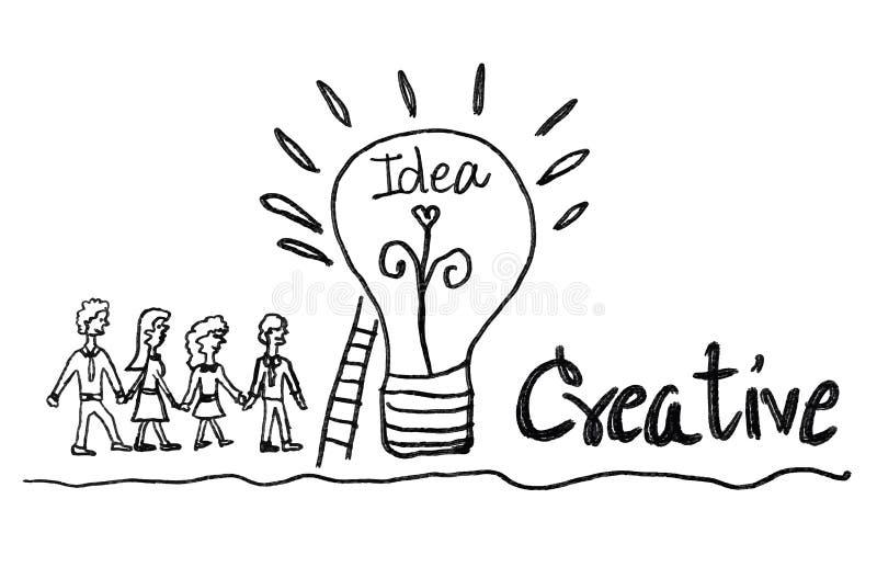 żarówki ikona z biznesowego mężczyzny i biznesowej kobiety wektoru ilustracją kreatywnie pomysłu pojęcie, pracy zespołowe royalty ilustracja