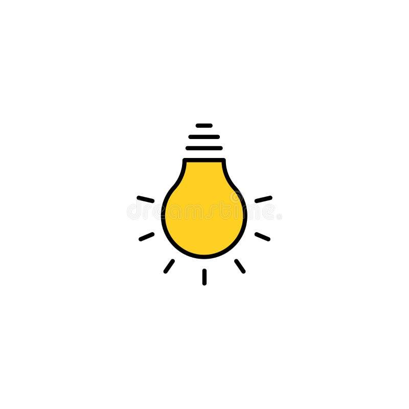 Żarówki ikony kreskowy wektor, odizolowywający na białym tle Pomysłu znak, rozwiązanie, myślący pojęcie Oświetleniowa Elektryczna ilustracji