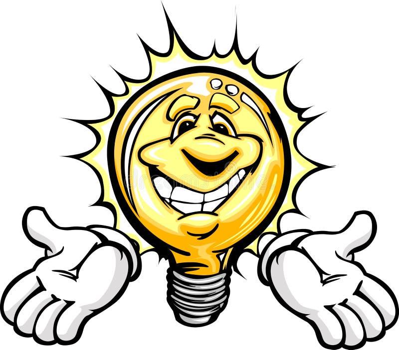 żarówki kreskówka wręcza szczęśliwego światło ilustracja wektor