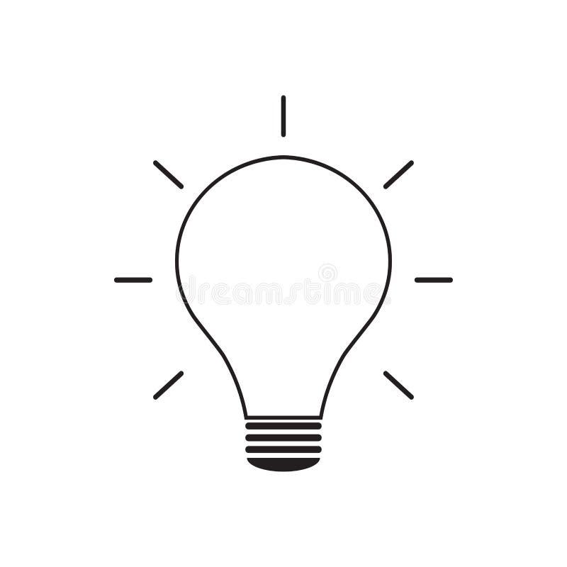Żarówki kreskowa ikona odizolowywająca na białym tle obrazy royalty free