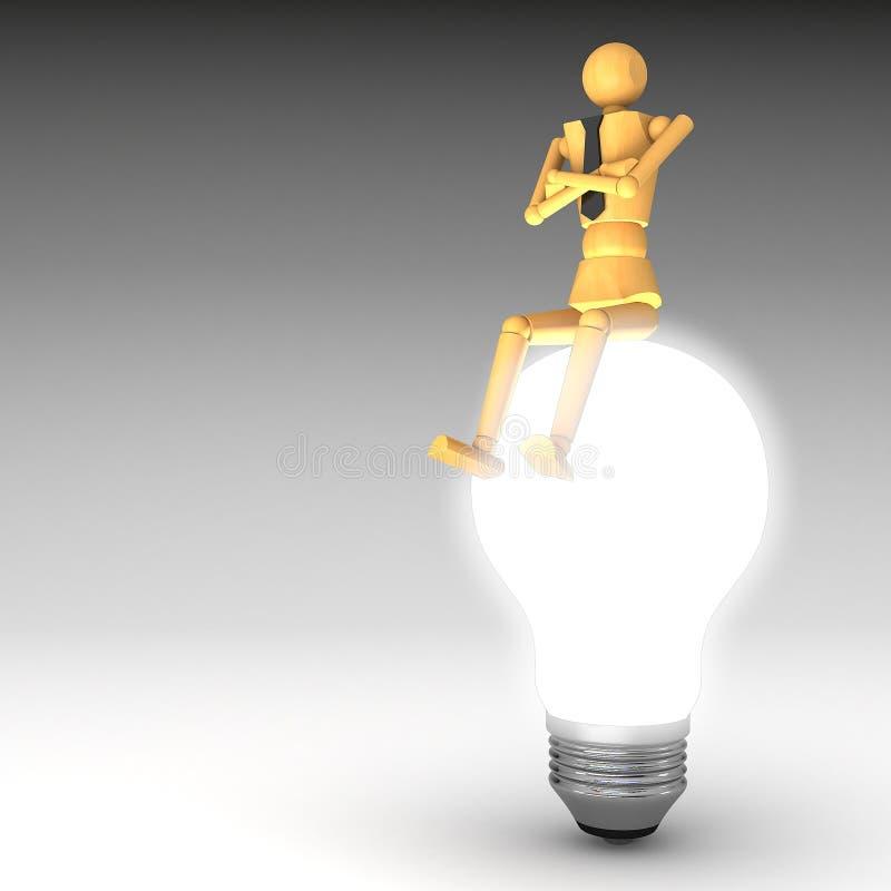 żarówki lali światło drewniany ilustracja wektor