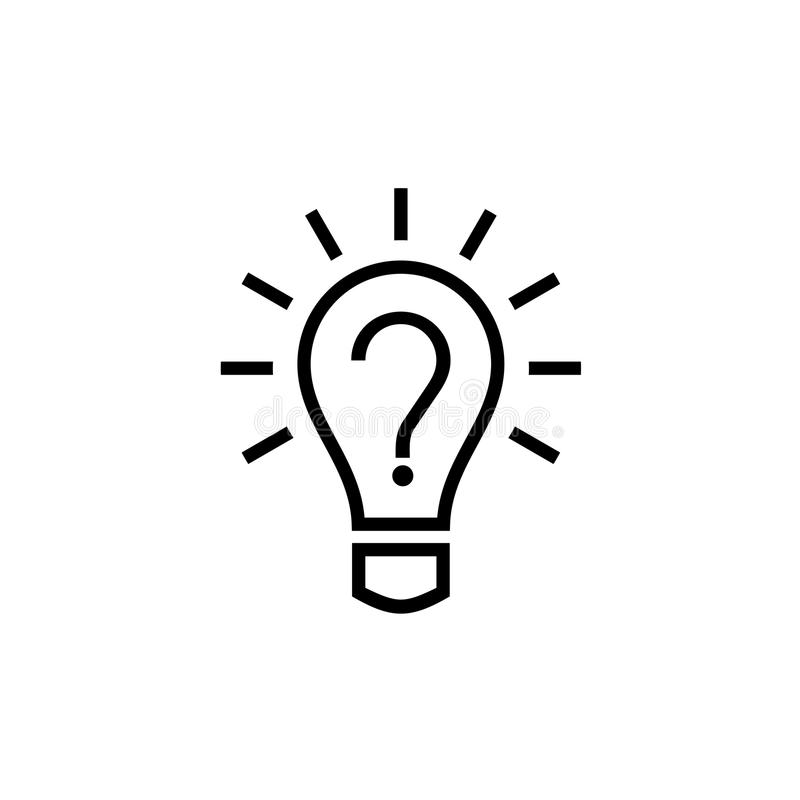 Żarówki lampowa ikona z znakiem zapytania inside ilustracja wektor