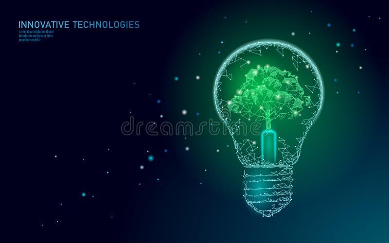 Żarówki lampowego oszczędzania ekologii energetyczny pojęcie Poligonalny bławy drzewo wśrodku elektryczności zieleni władzy energ royalty ilustracja