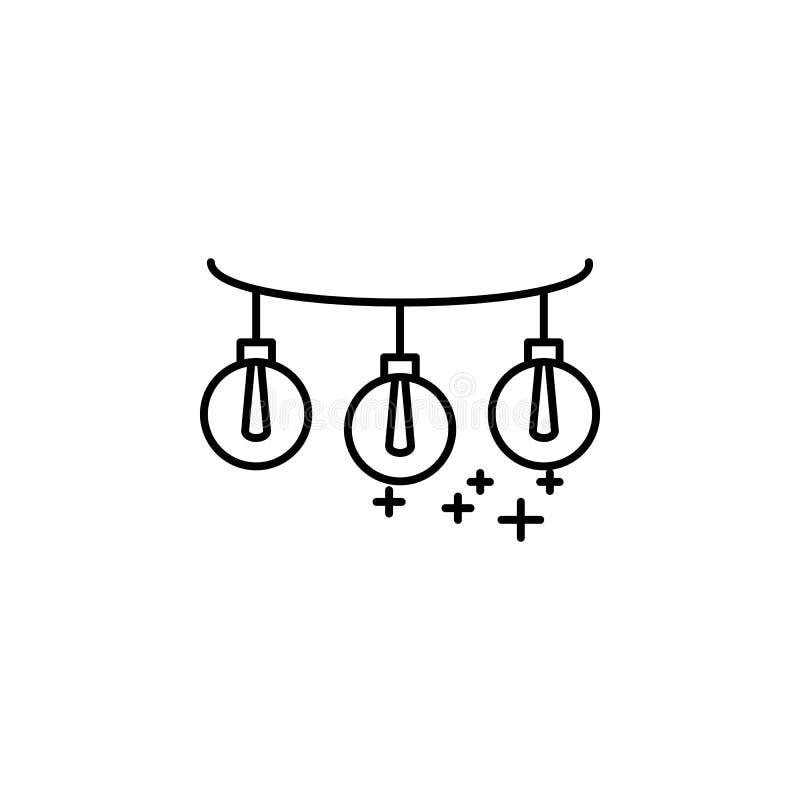 żarówki na linowej ikonie Element nowego roku konturu oarty ikona Cienka kreskowa ikona dla strona internetowa projekta i rozwoju royalty ilustracja