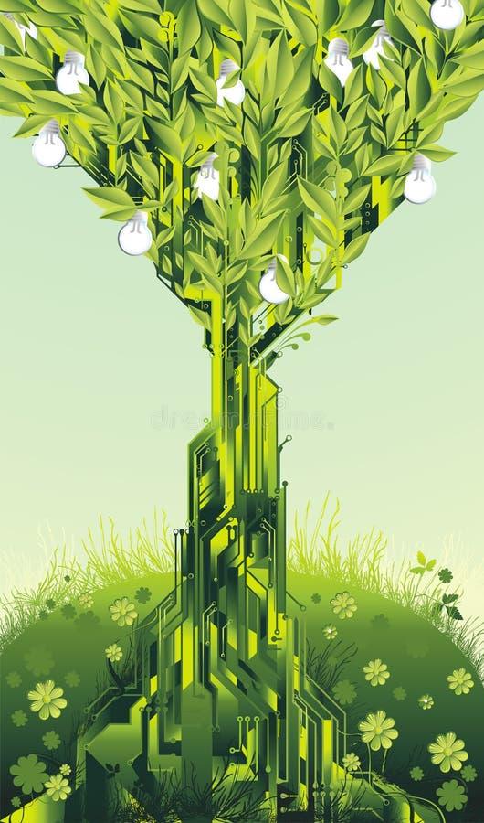 żarówki obwodu światła drzewo ilustracji