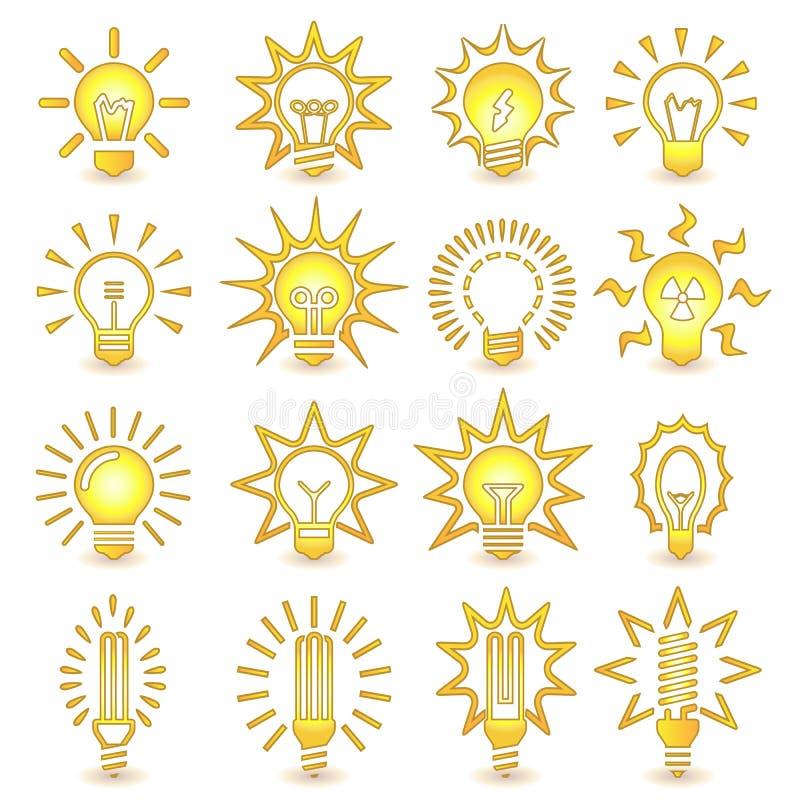 Download żarówki Odizolowywający Lekki Biel Żarówki Ikony Set Ilustracja Wektor - Ilustracja złożonej z żarówki, elektryczność: 57658452