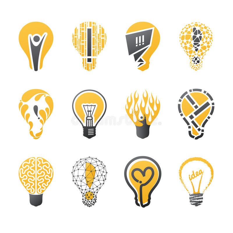 żarówki pomysłu światła loga ustalony szablonu wektor ilustracji