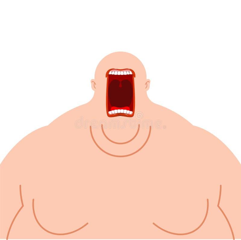 Żarłok głodny Grubego mężczyzny otwarty usta Ciężki zjadacz ilustracji