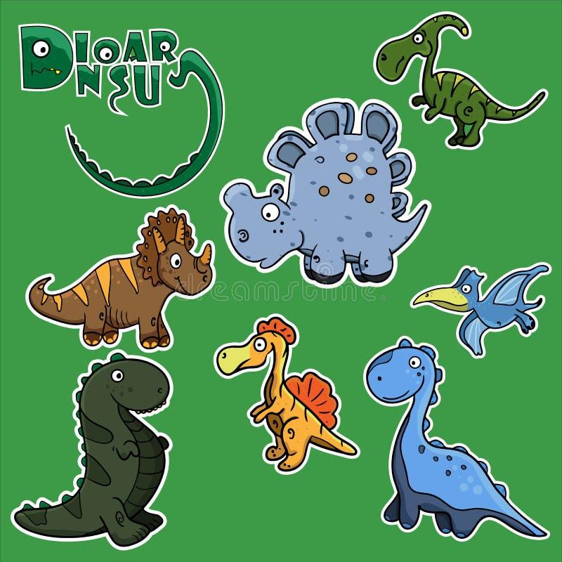 Żartuje śmiesznych majcherów w postaci ślicznych dinosaurów ilustracji