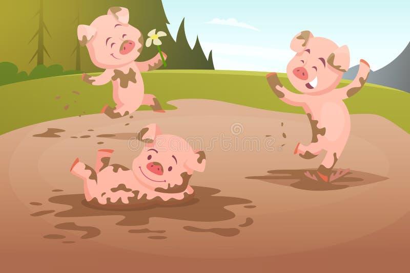 Żartuje świnie bawić się w brudnej kałuży ilustracji