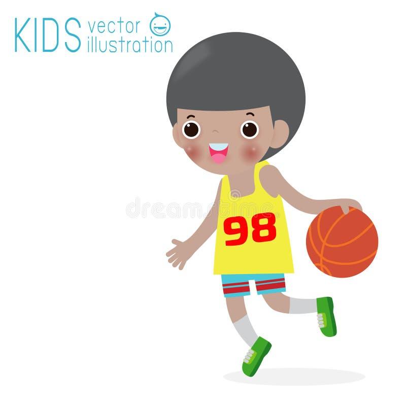 Żartuje bawić się koszykówkę na odosobnionym na tle, dzieciach i sporta wektoru ilustracji białych, royalty ilustracja