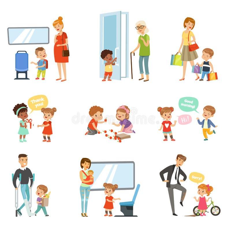 Żartuje dobre manier ustawiających, grzeczni dzieci pomaga dorosłych, dawać sposobowi odtransportowywać, dziękować each inne wekt royalty ilustracja
