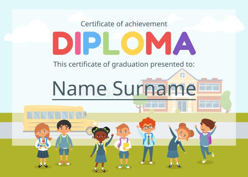 Żartuje dyplomu świadectwo dla preschool royalty ilustracja