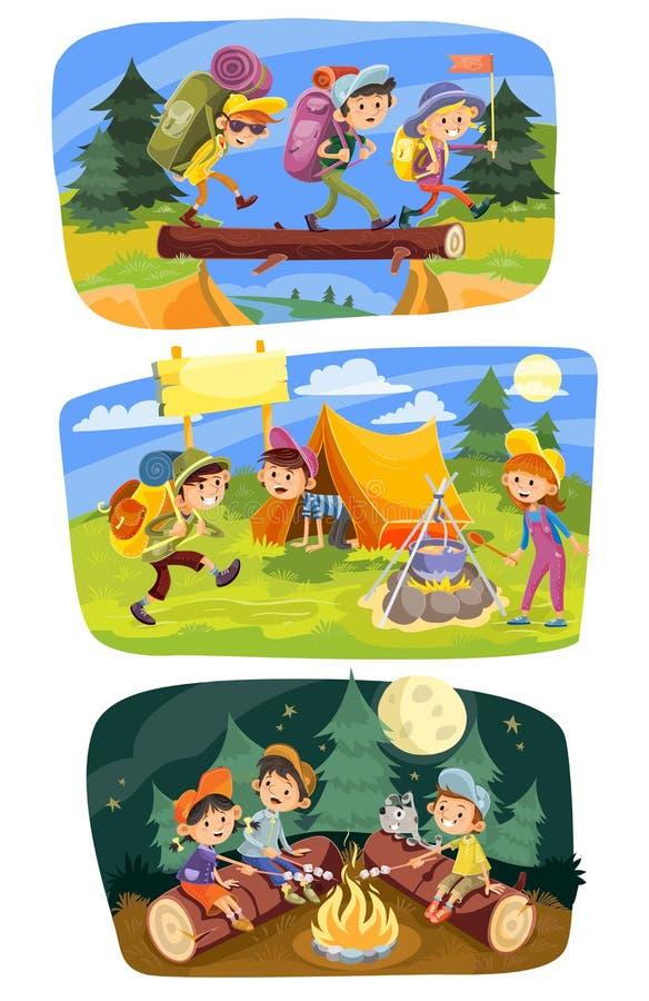 Żartuje lata pojęcia campingową wektorową ilustrację royalty ilustracja