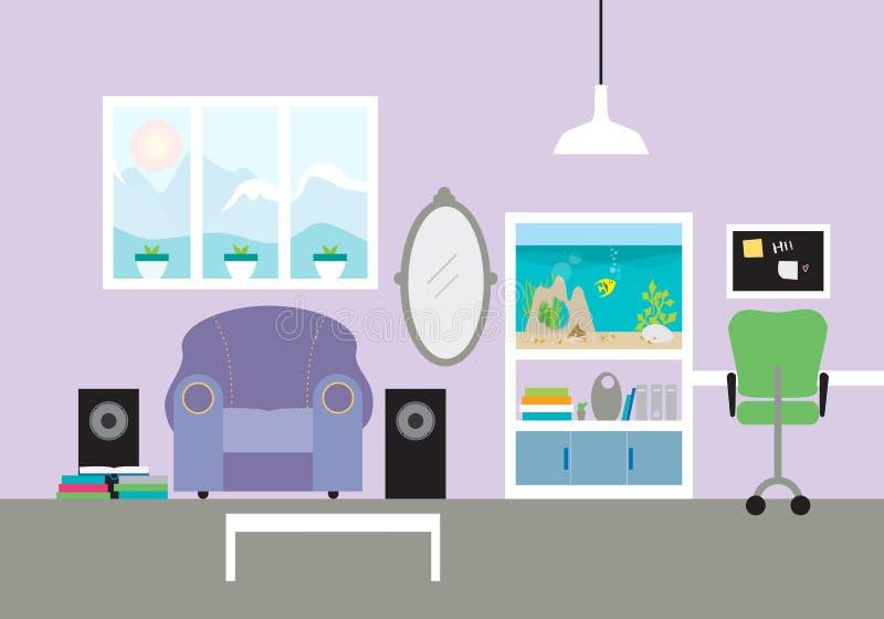Żartuje ` s pokój z karłem i akwarium, z krzesłem i biurkiem w wo royalty ilustracja