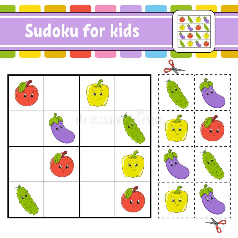 żartuje sudoku Edukacji rozwija worksheet Aktywności strona z obrazkami Łamigłówki gra dla dzieci Logicznego główkowania szkoleni royalty ilustracja