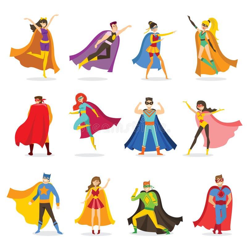 Żeńscy i męscy bohaterzy w śmiesznych komiczkach kostiumowych ilustracji