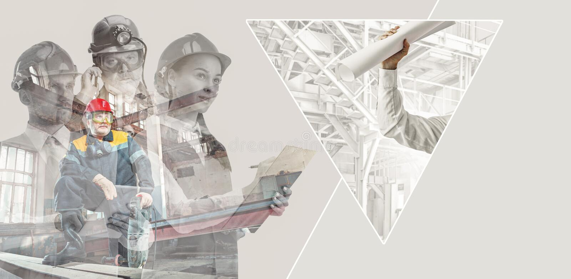 Żeńscy i męscy budowniczowie w hełmach, kreatywnie kolaż zdjęcie royalty free