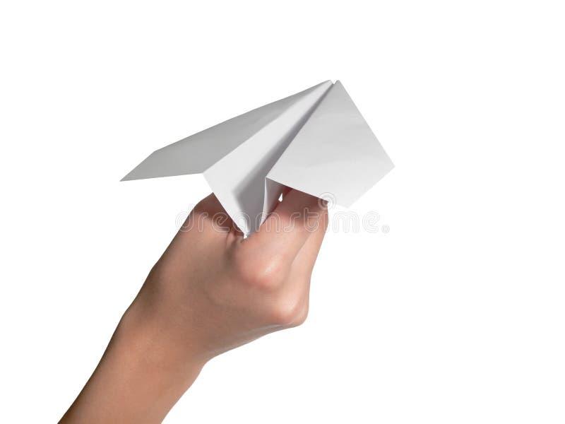 żeńscy ręki papieru samolotu początek zdjęcia stock