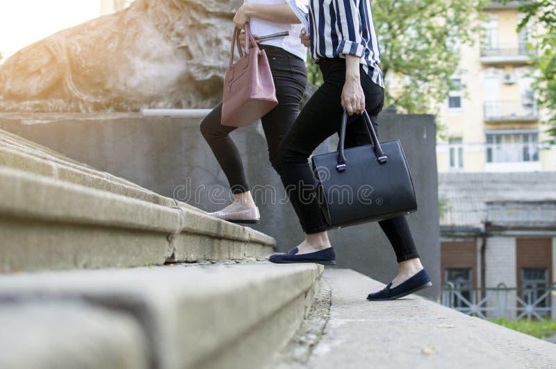 Żeńscy ucznie iść szkoła, one iść na piętrze uniwersytet, trzyma ręki, dziewczyny śpieszą się lekcje zdjęcia stock
