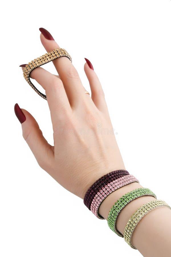 żeńska bransoletki ręka zdjęcie stock