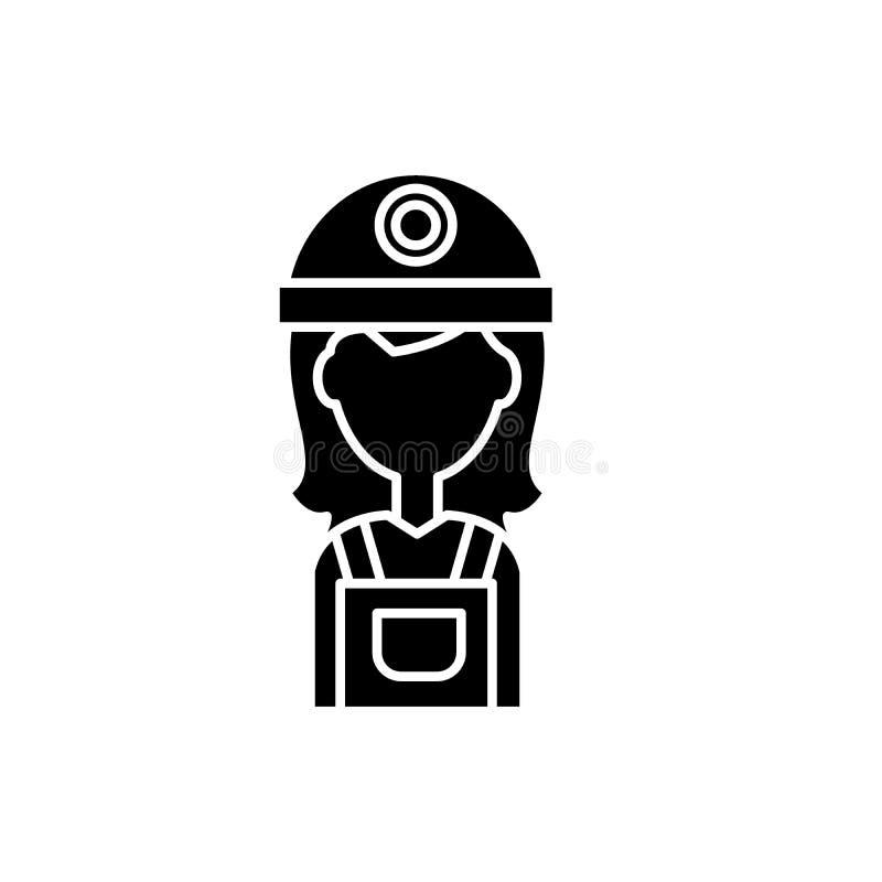 Żeńska budowniczego czerni ikona, wektoru znak na odosobnionym tle Żeński budowniczego pojęcia symbol, ilustracja ilustracji