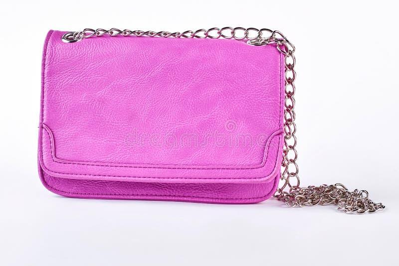 Żeńska modna różowa naramienna torba fotografia stock